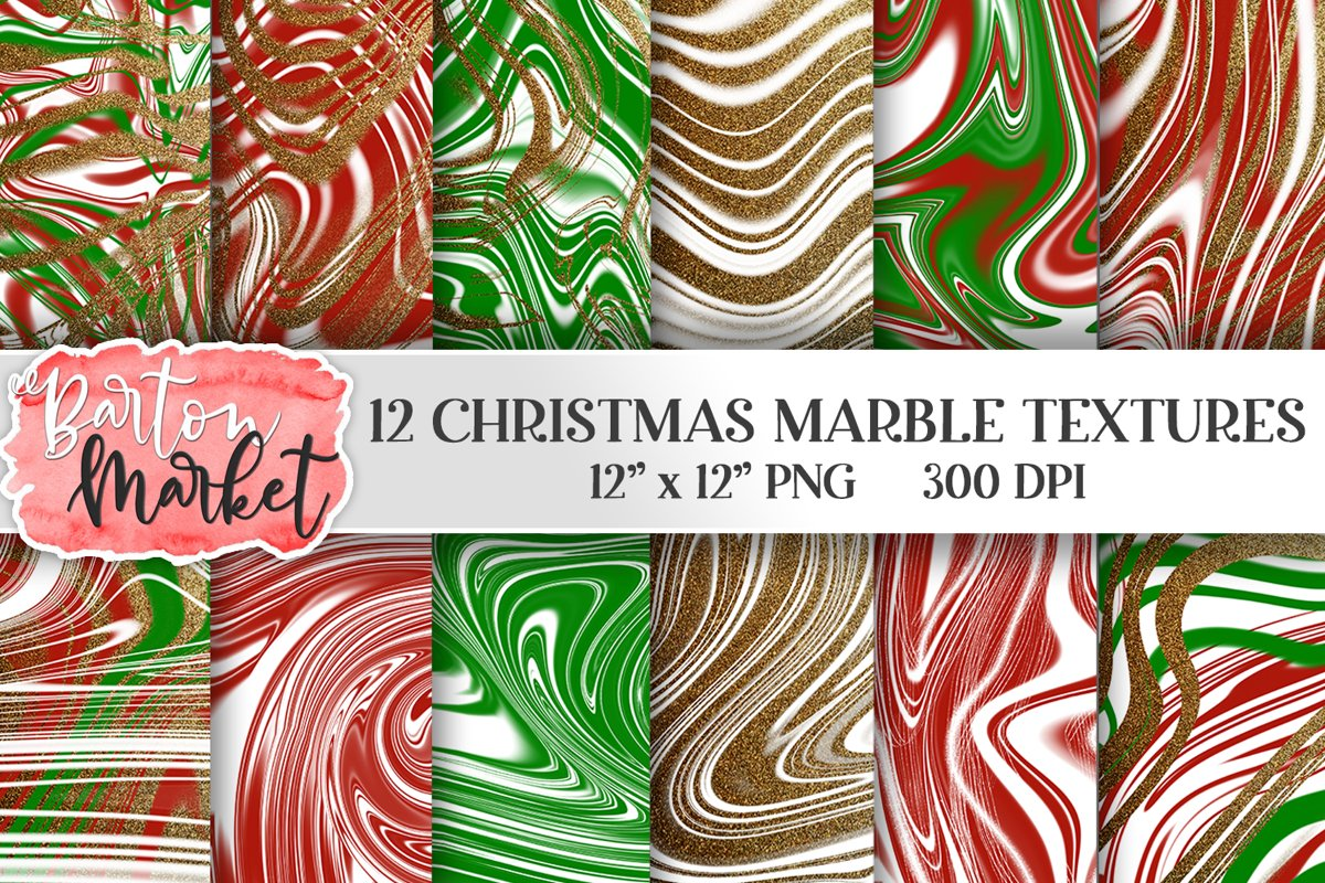 Christmas Marble Textures example image 1