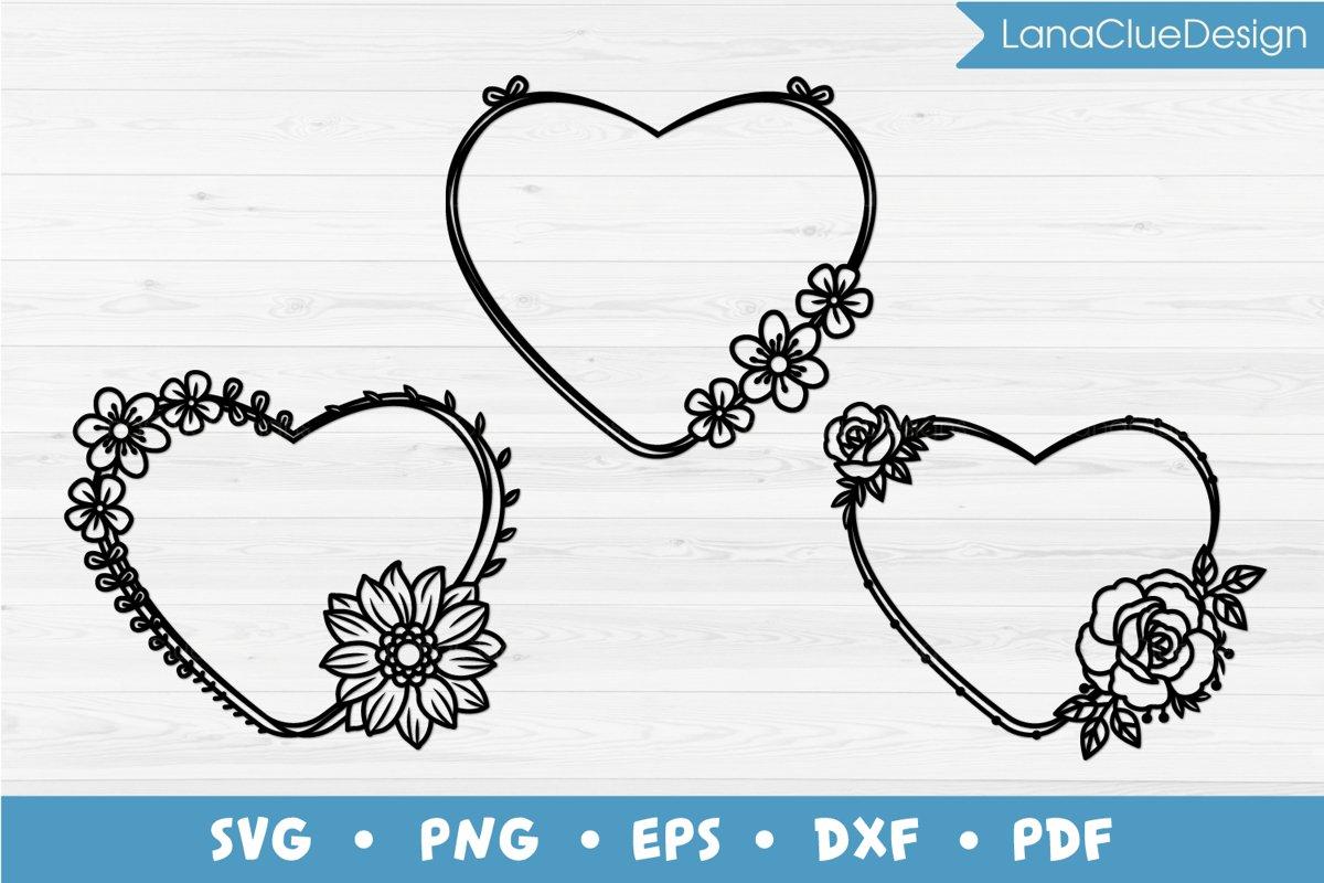3 Floral Heart Shaped Frames SVG example image 1