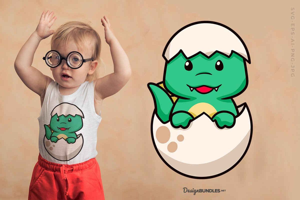 Baby Dinosaur T-Shirt Design example image 1