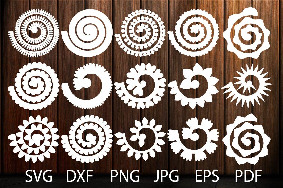 Rolled Paper Flower Templates SVG, 3D Rose SVG, Origami Rose example image 1
