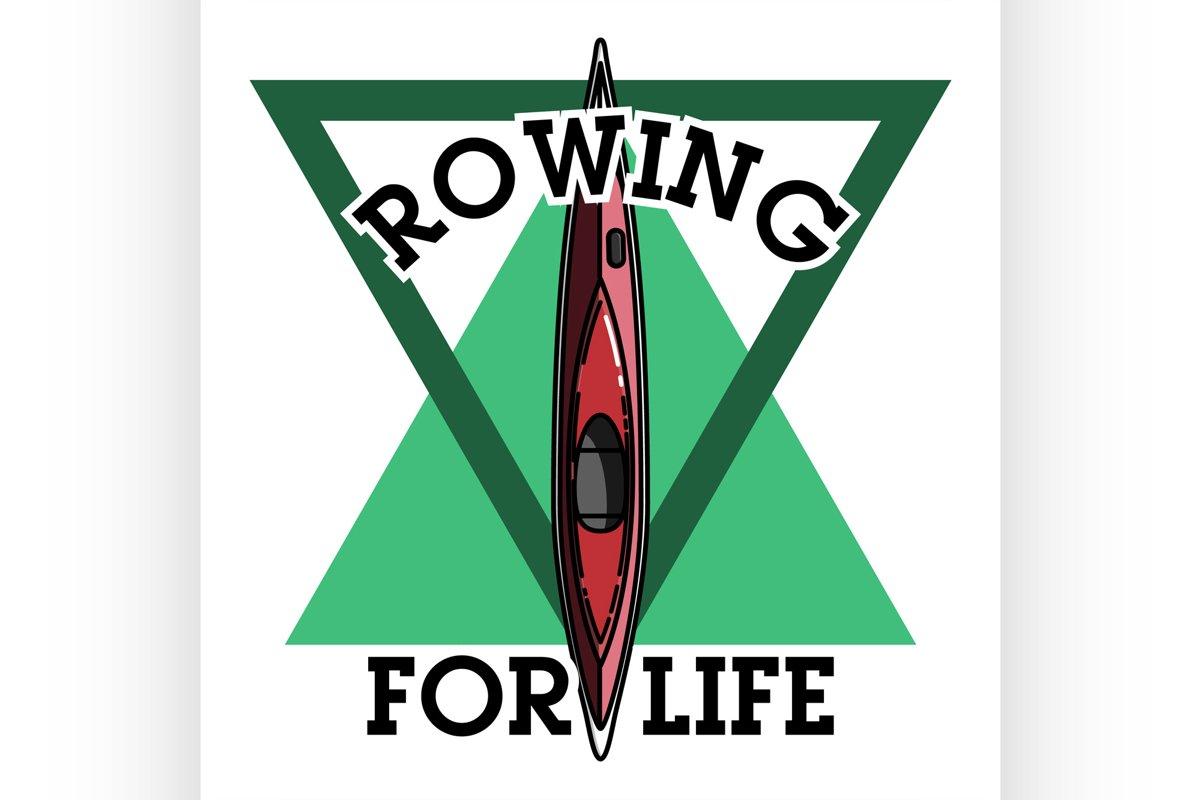 Color vintage rowing emblem example image 1
