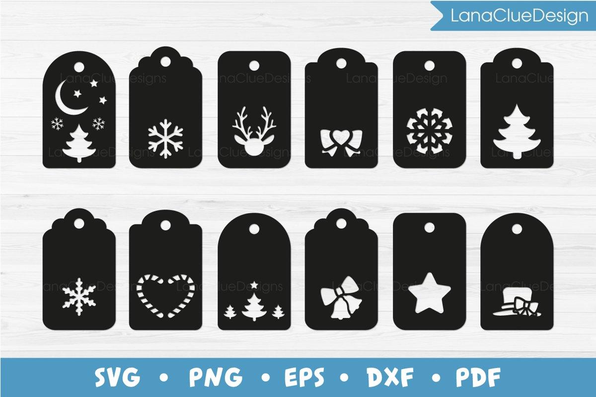 12 Christmas Gift Tags SVG example image 1