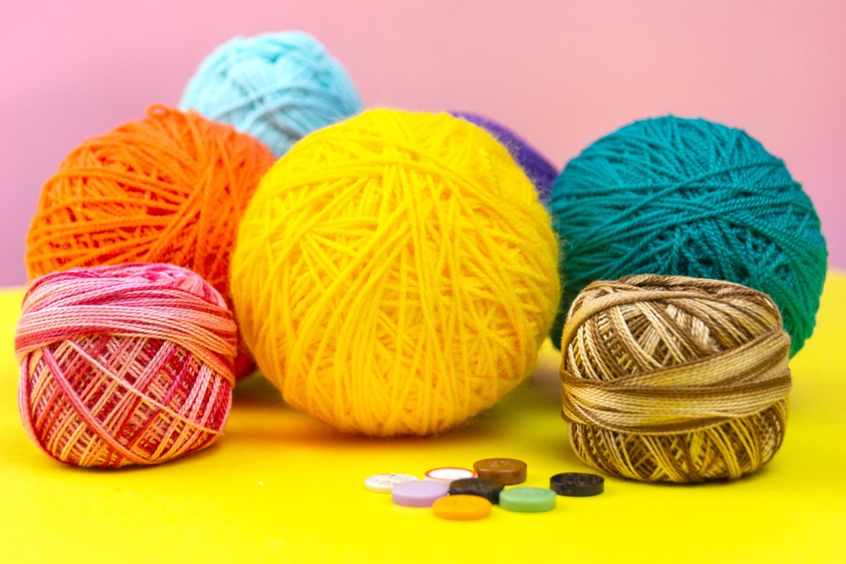 Colored balls of yarn. Yarn for knitting. example image 1