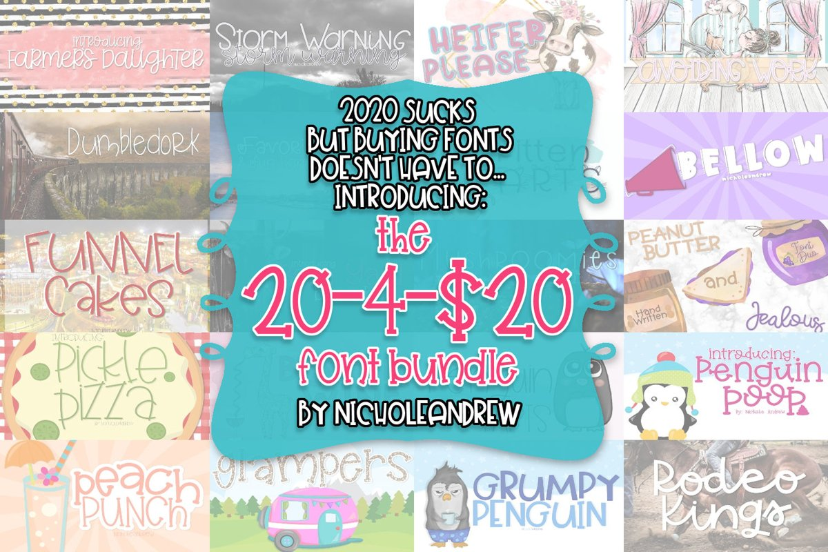 The 20-4-$20 Font Bundle - Includes 20 Handwritten Fonts example image 1