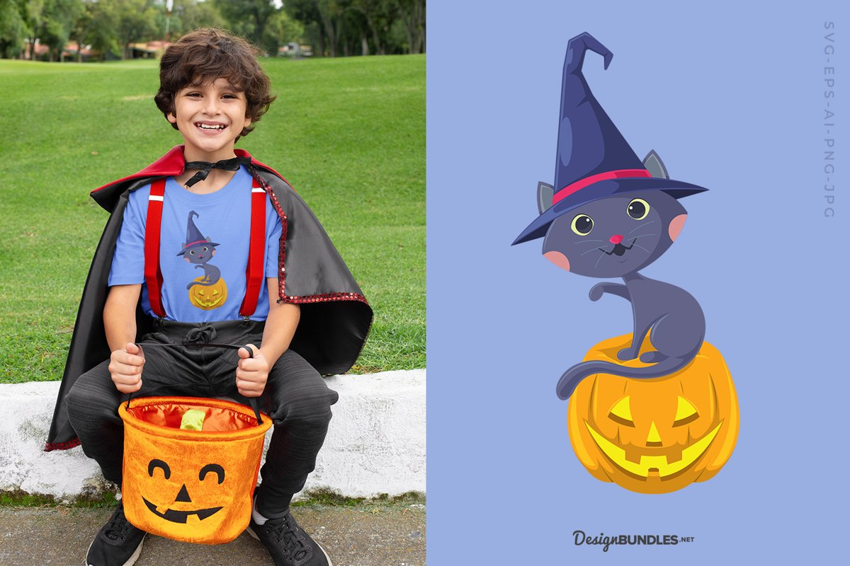 Wizard Cat Sitting On Pumpkin illustration example image 1