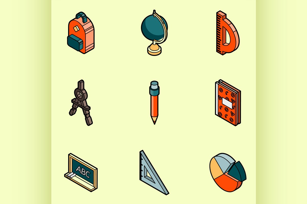 School color outline isometric icons example image 1