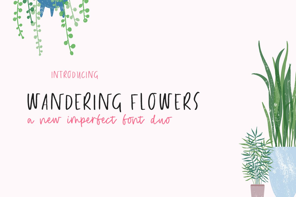 Wandering Flowers Font Duo example image 1