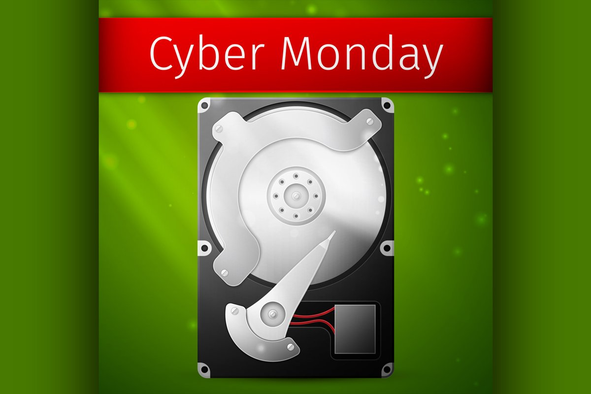 Cyber Monday Sale poster, opened hard drive disk example image 1