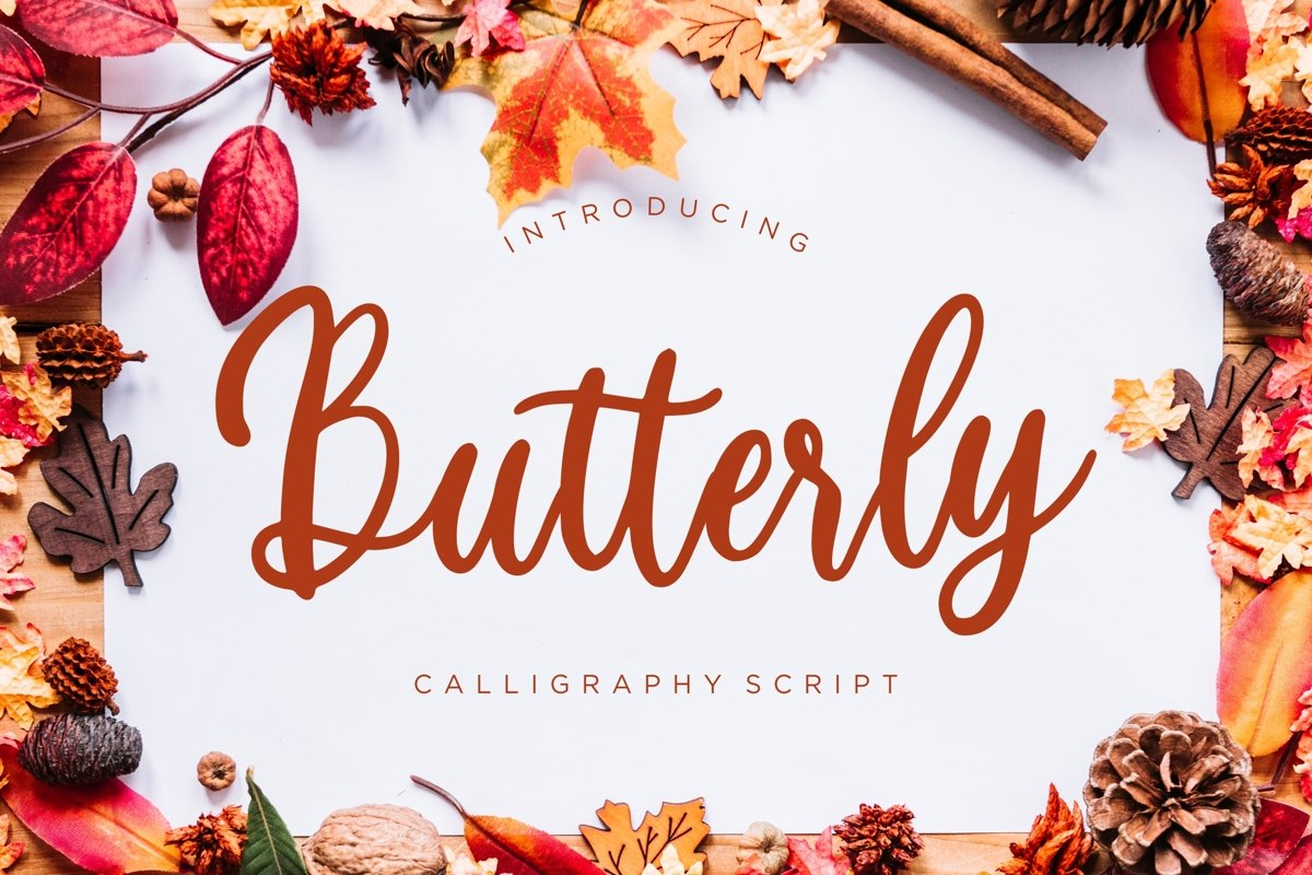 Butterly Calligraphy Script example image 1