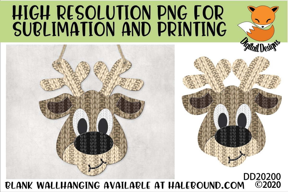 knitted Effect Reindeer Head PNG for Sublimation example image 1