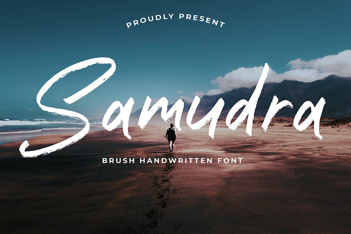 Samudra Brush Handwritten font example image 1