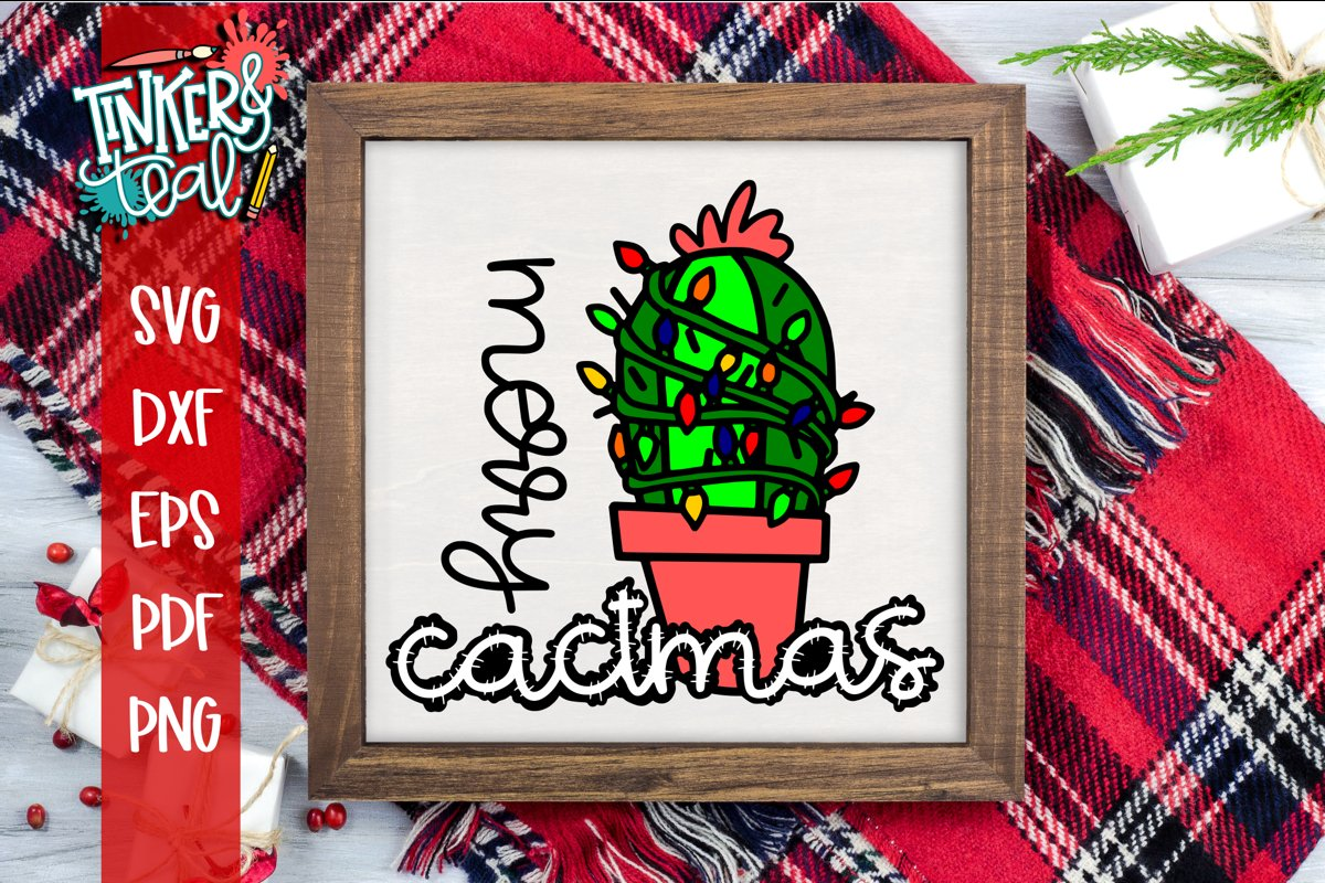 Merry Cactmas Christmas Cactus SVG example image 1