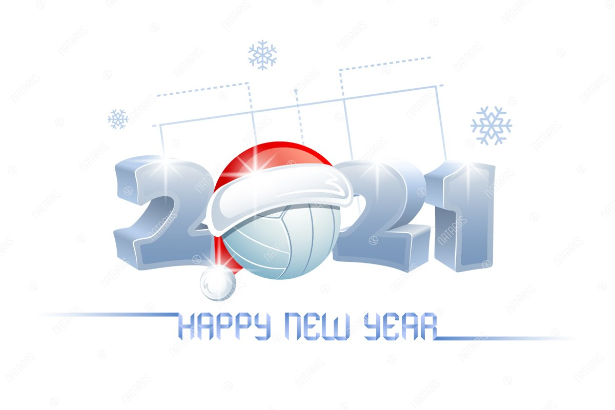 2021 Happy New Year. Sports greeting card. Volleyball ...