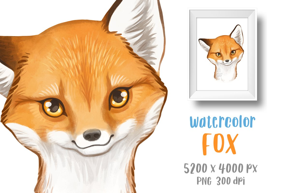 Baby fox drawing Watercolor art Forest animal clipart PNG example image 1
