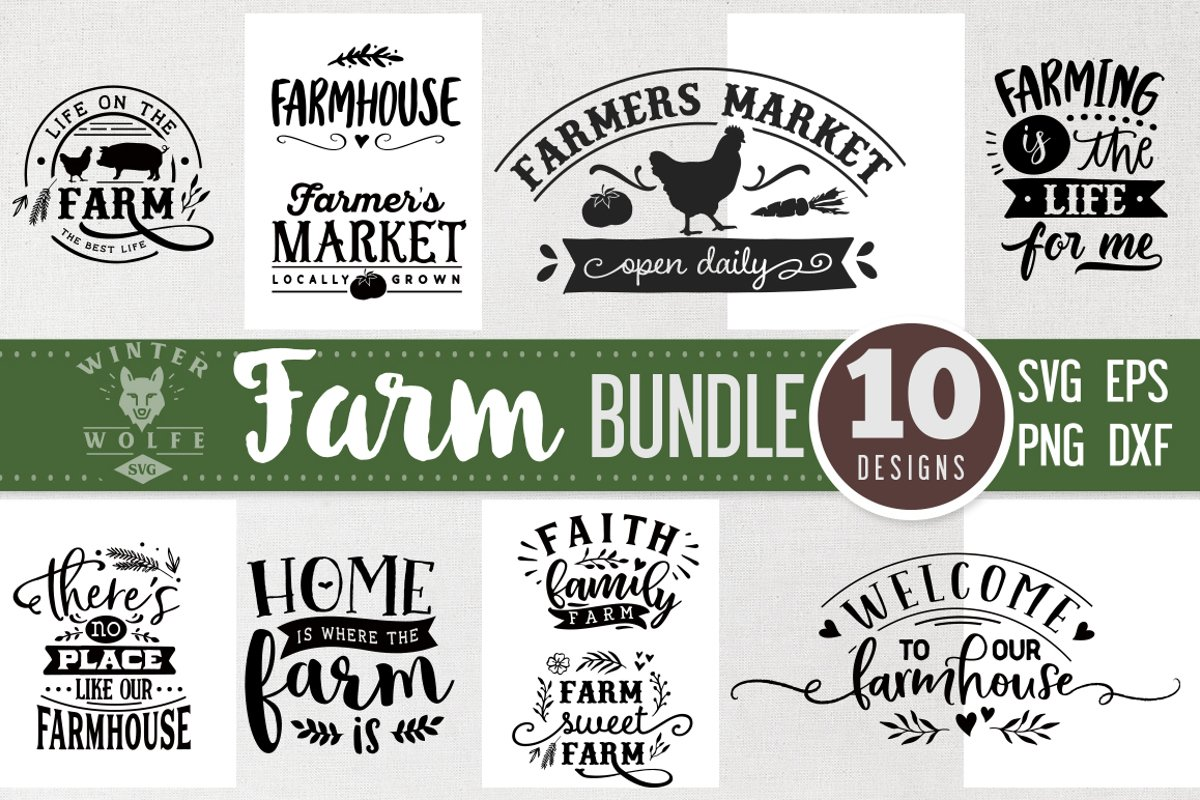 Farm Bundle 10 designs SVG EPS DXF PNG example image 1