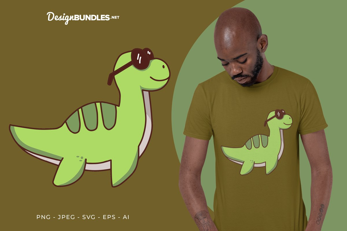 Cool Green Dino Vector Illustration For T-Shirt Design example image 1