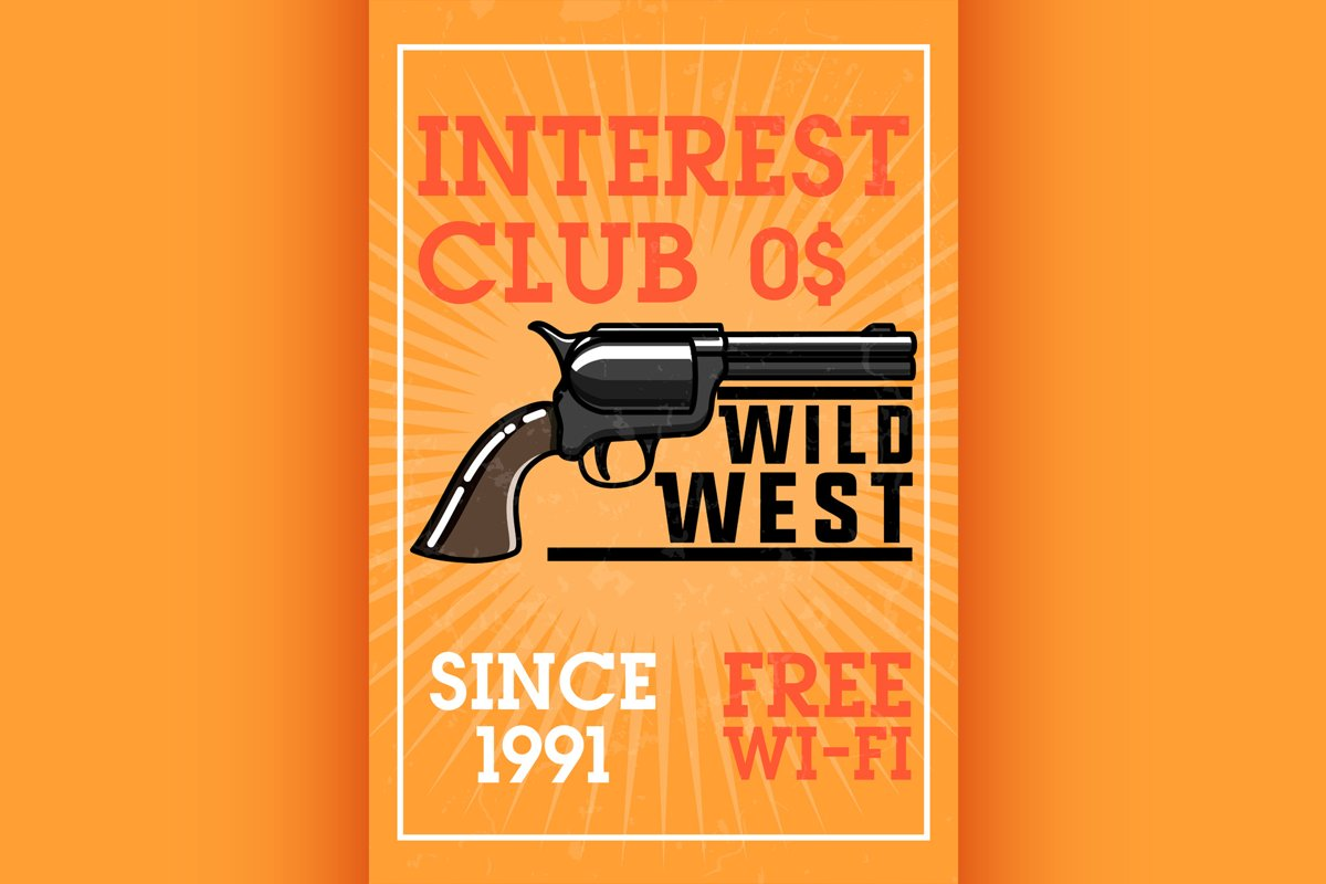 Color vintage wild west banner example image 1