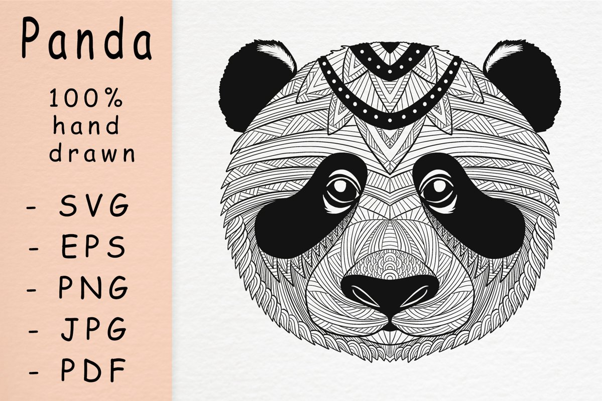 Hand drawn panda head with patterns example image 1