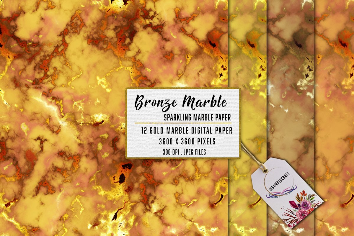 Gold Marble digital paper, Sparkling marble backgrounds example image 1