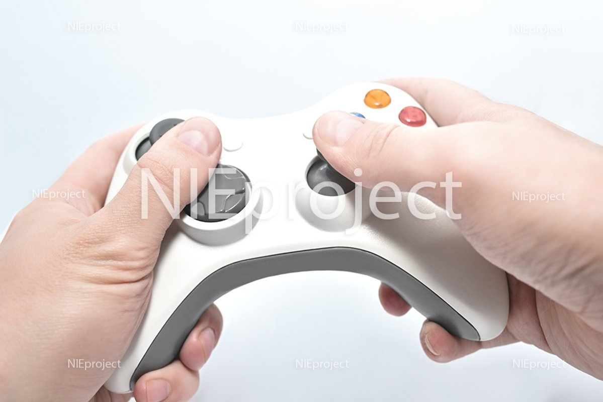 gamepad in the player's hands isolated on white background example image 1