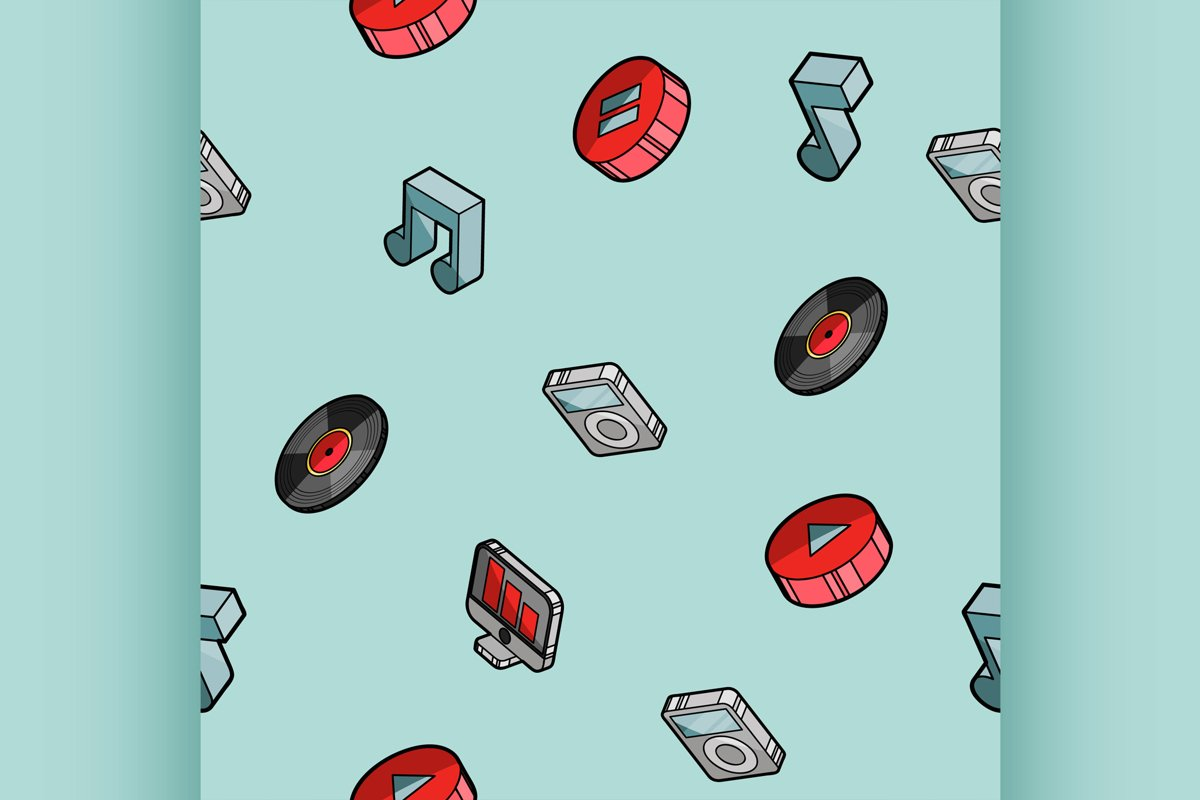 Music color outline isometric pattern example image 1