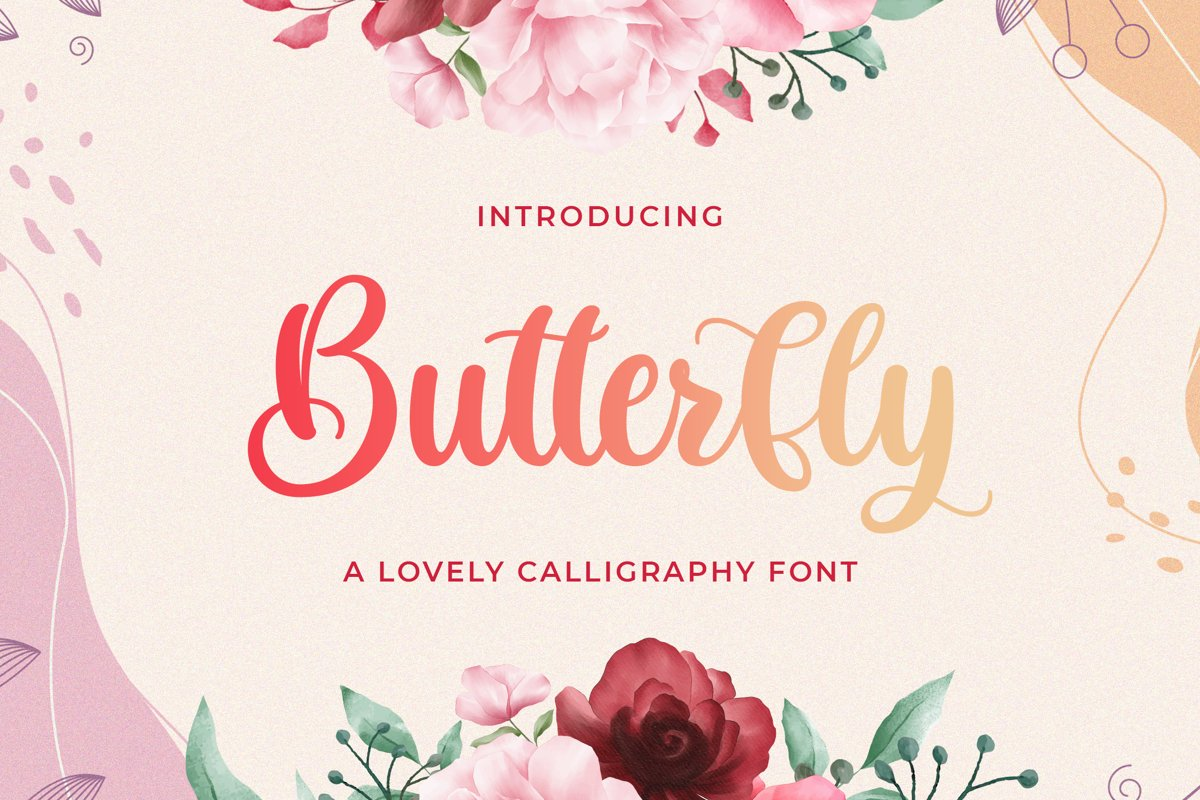 Butterfly - Lovely Calligraphy Font example image 1