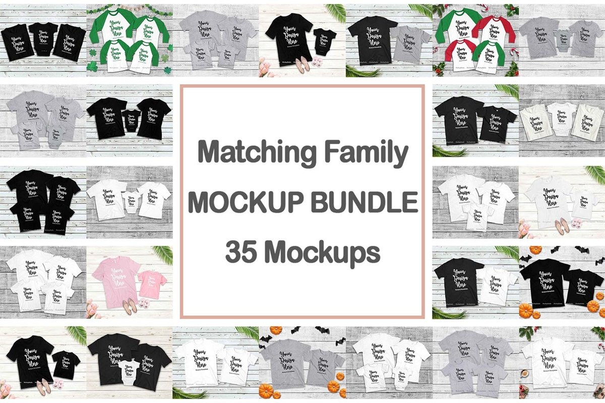 Family Tshirt Mockup Bundle, Kids Shirt Mock Up Bundle Set example image 1