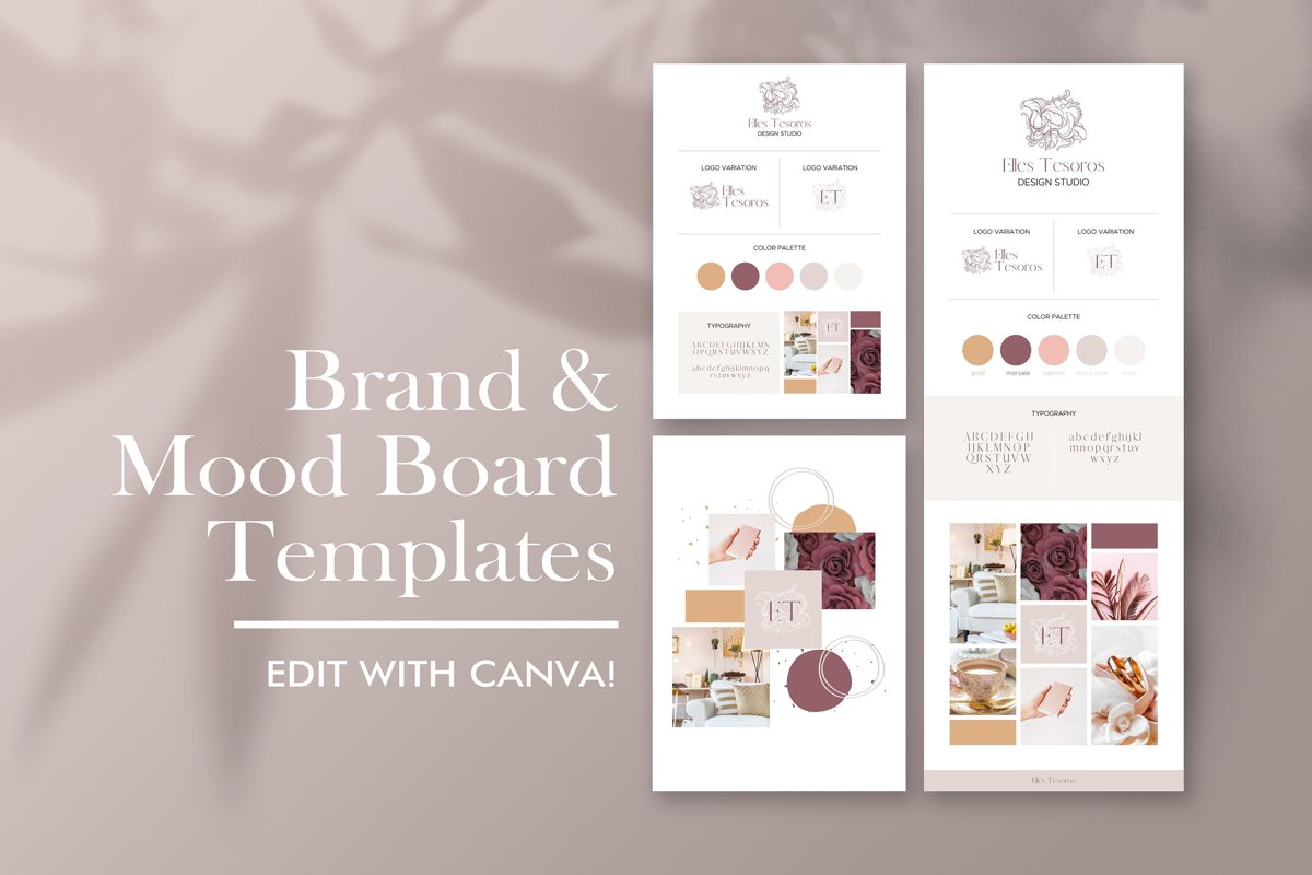 Brand Board and Mood Template, Canva, Online Business Brand ...