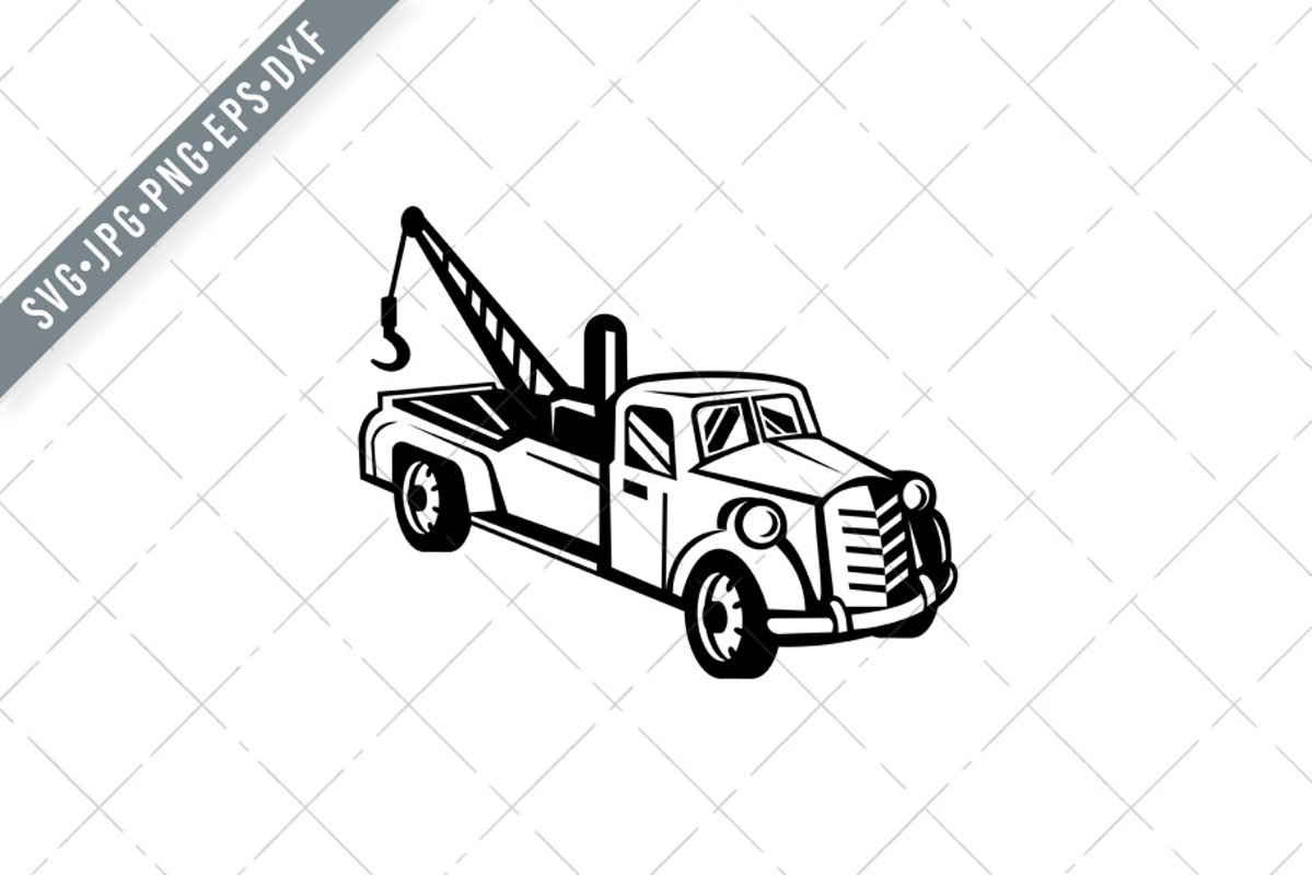 Vintage Tow Truck Or Wrecker Pick Up Truck Retro Svg 794397 Illustrations Design Bundles