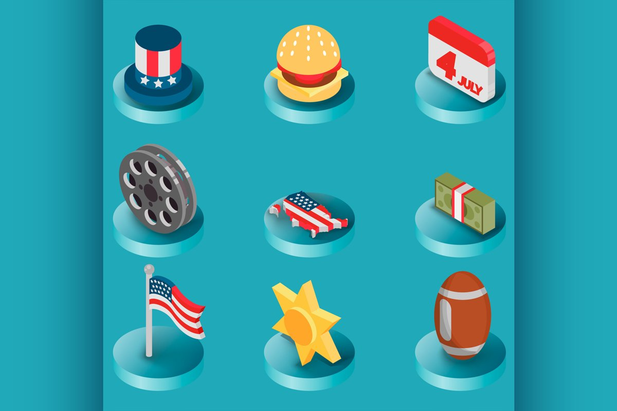 America color isometric icons example image 1