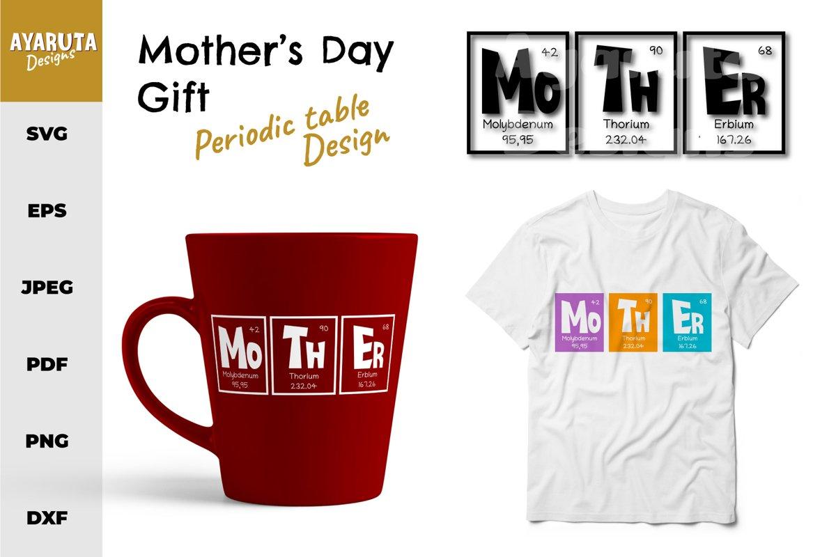Mother's Day Gift Quote as Periodic Table SVG EPS PNG example image 1