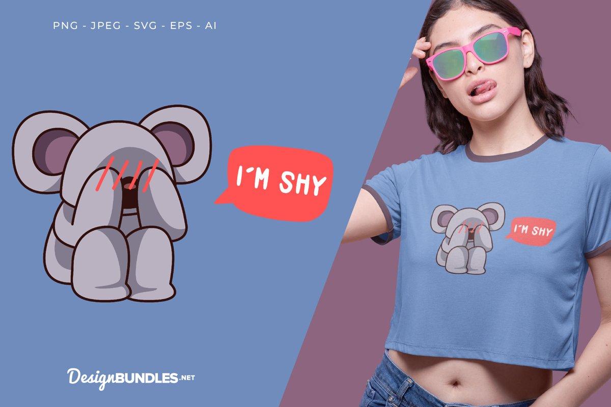 Shy Koala Vector Illustration For T-Shirt Design example image 1