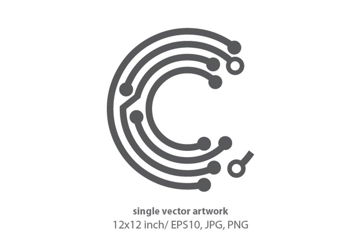 digital letter c- single vector artwork example image 1