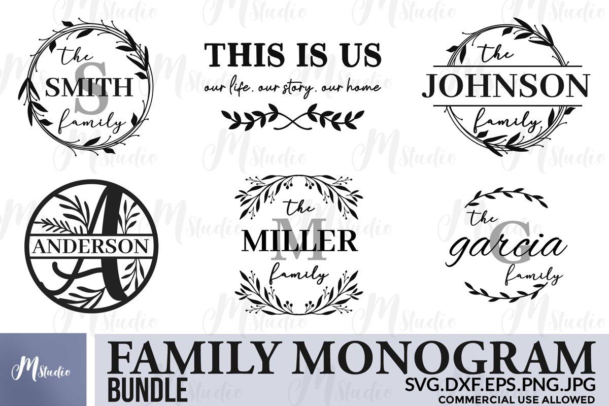 Family monogram bundle SVG & Free split monogram letters example image 1