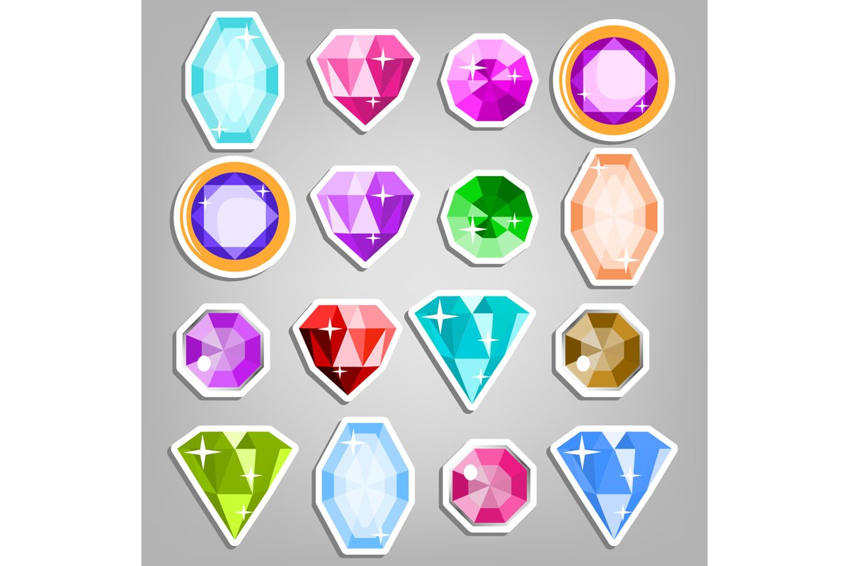 Colored Set Gems Vector. Bright Realistic Gemstones Icons. example image 1
