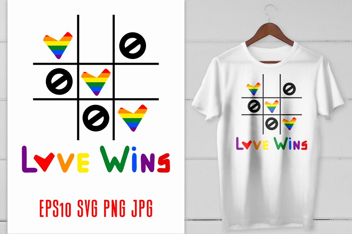 Gay Pride LGBT Love wins quote with hearts in rainbow colors example image 1