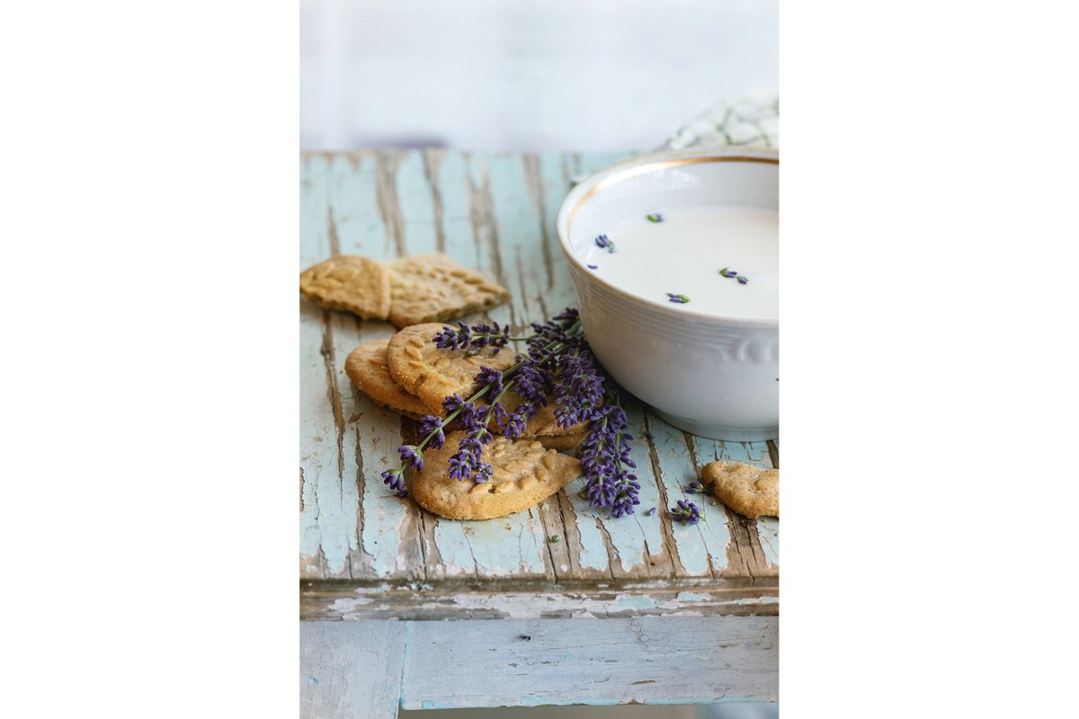 Lavender cookies with milk example image 1