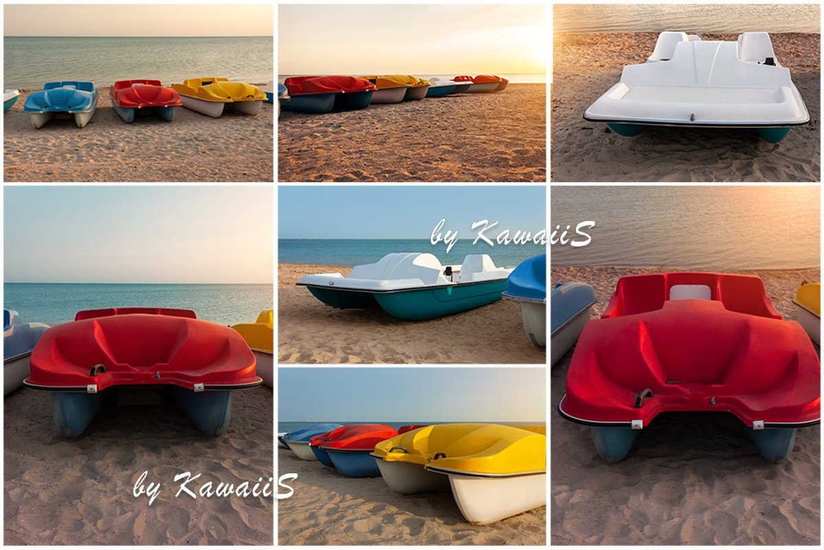 Colorful catamarans pedal boats on the sunset on a sea beach example image 1