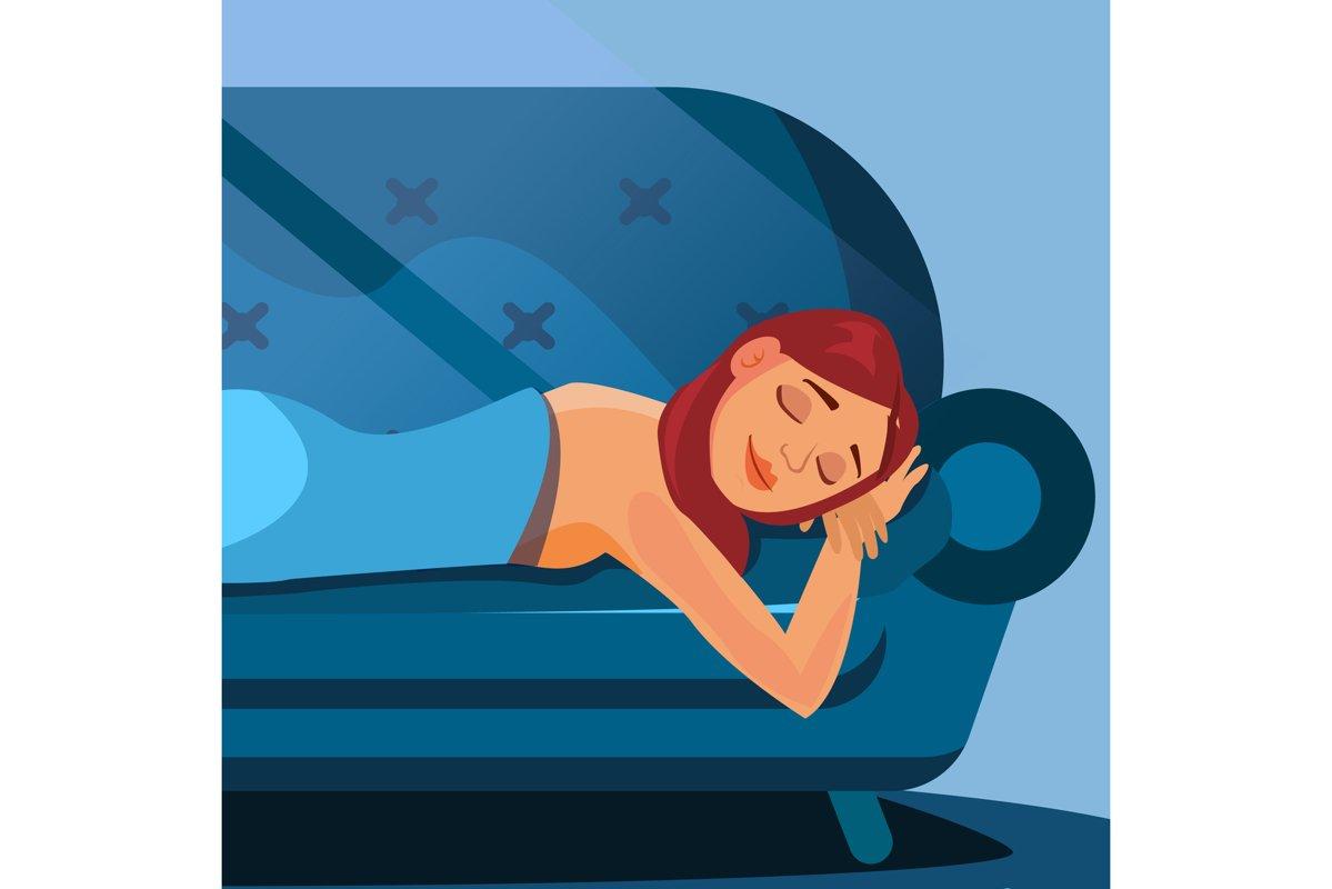 Sleeping Beautiful Woman Vector. Healthy Sleep. Night example image 1