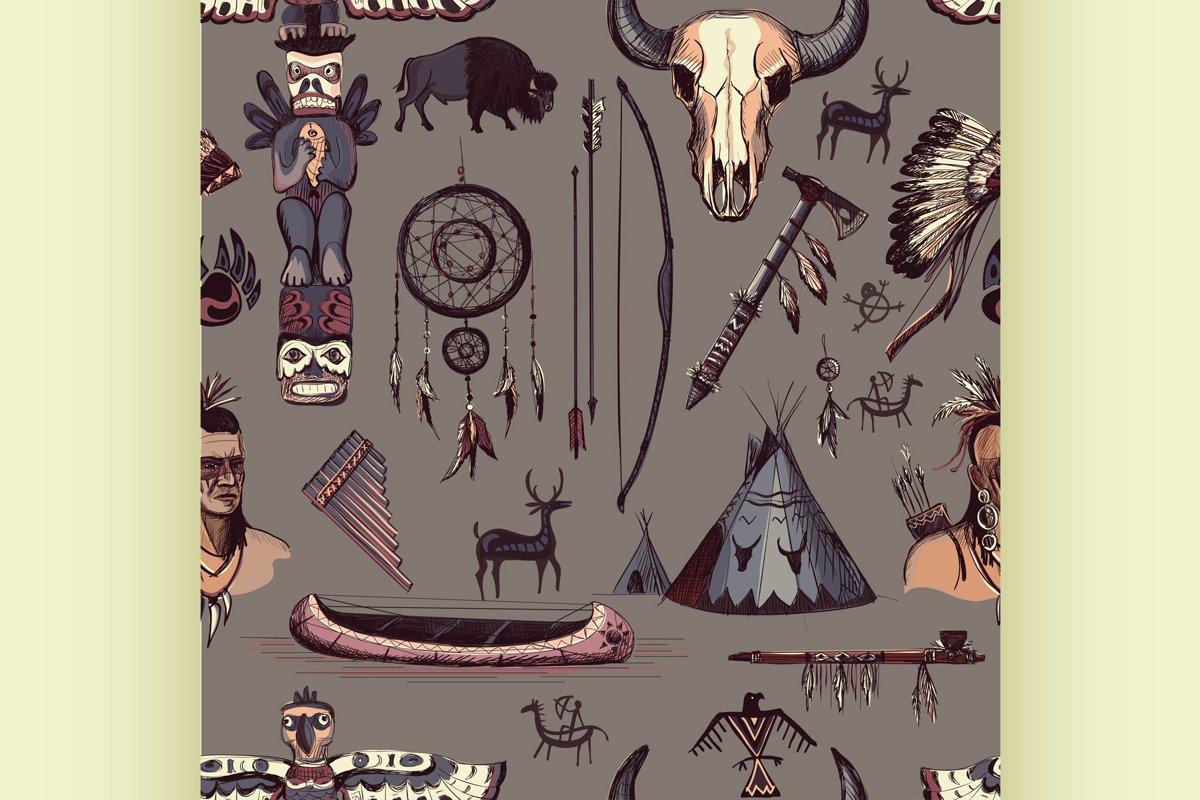 Seamless Pattern American Tribal Native Symbols example image 1
