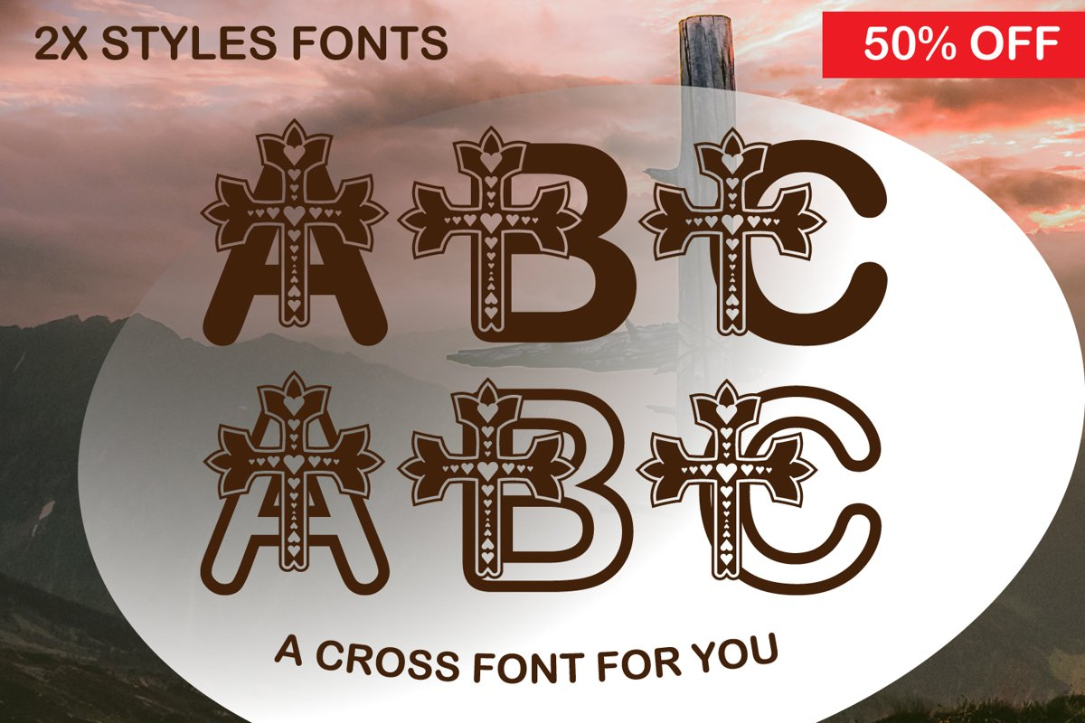 A Cross Love Cute Paper cut Style Font example image 1