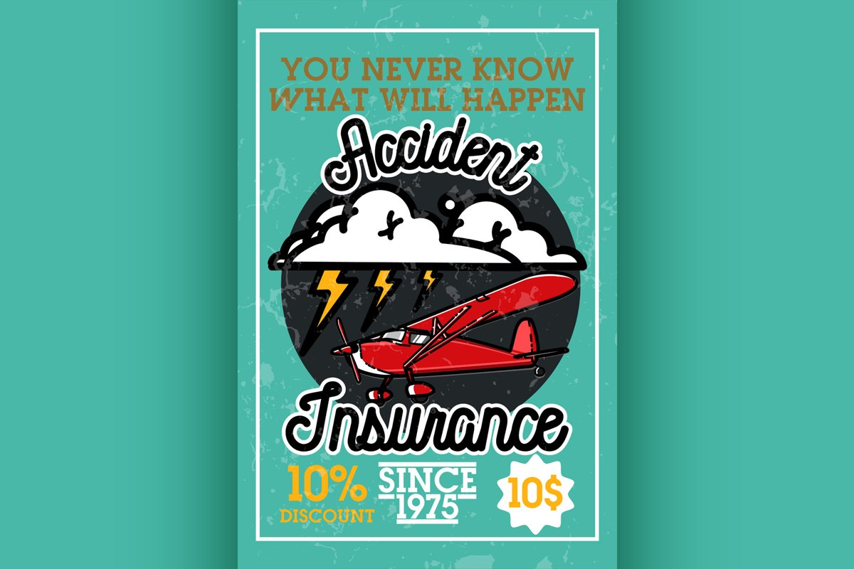 Color vintage accident insurance banner example image 1