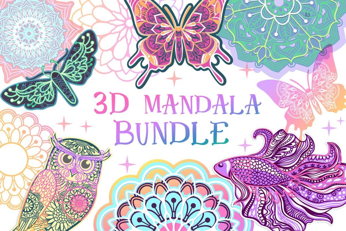 3D Mandala Bundle | 3D Papercut SVG example image 1