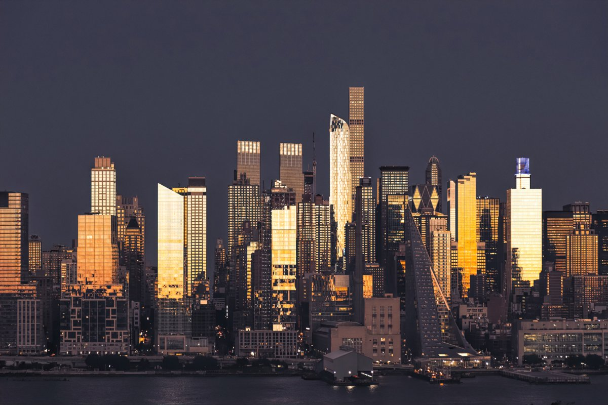 New York City and Hudson Cityscape at night example image 1