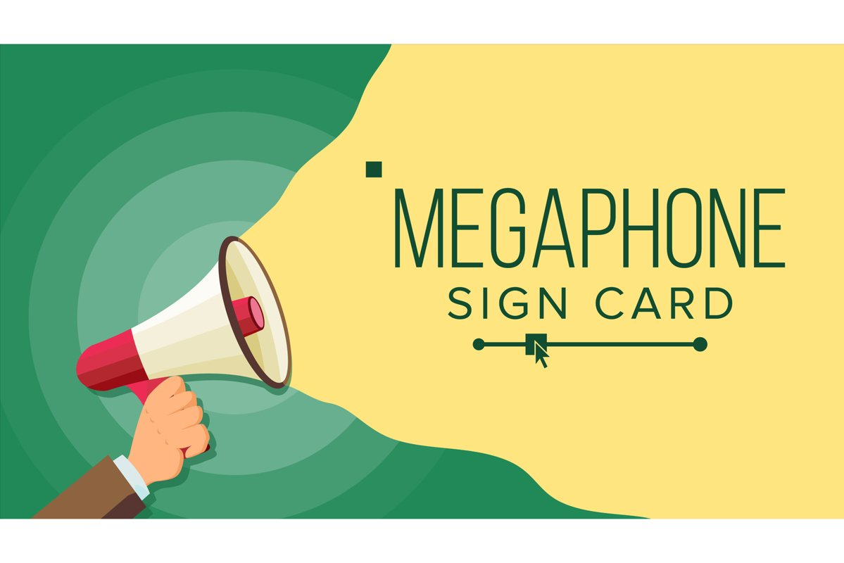 Megaphone In Human Hand Vector. Elections Symbol. Bullhorn. example image 1