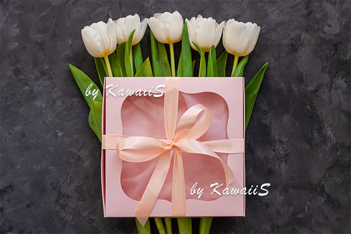 White tulip flowers and pink gift box greeting card mockup example image 1