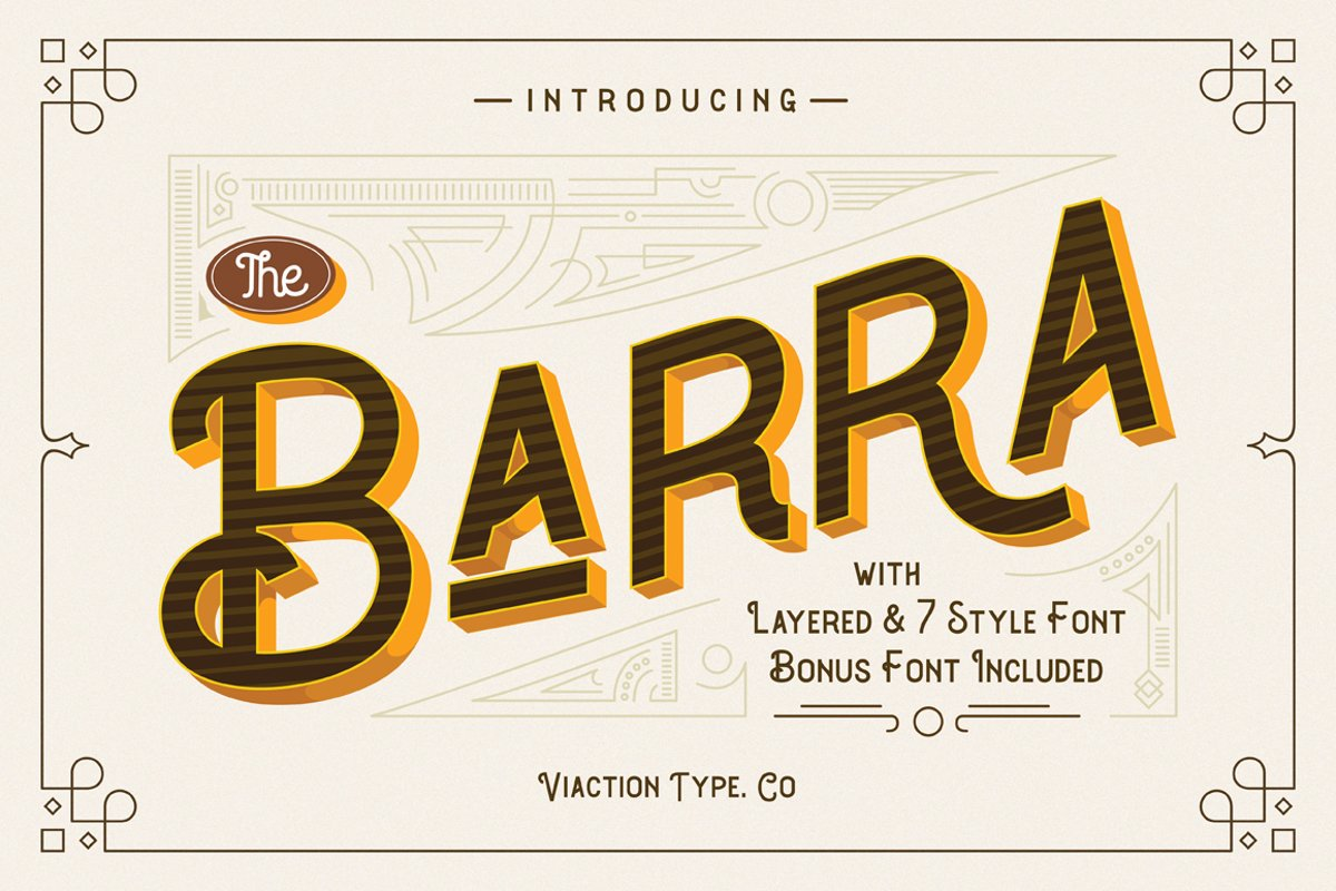 The Barra |7 Font Family + Bonus example image 1