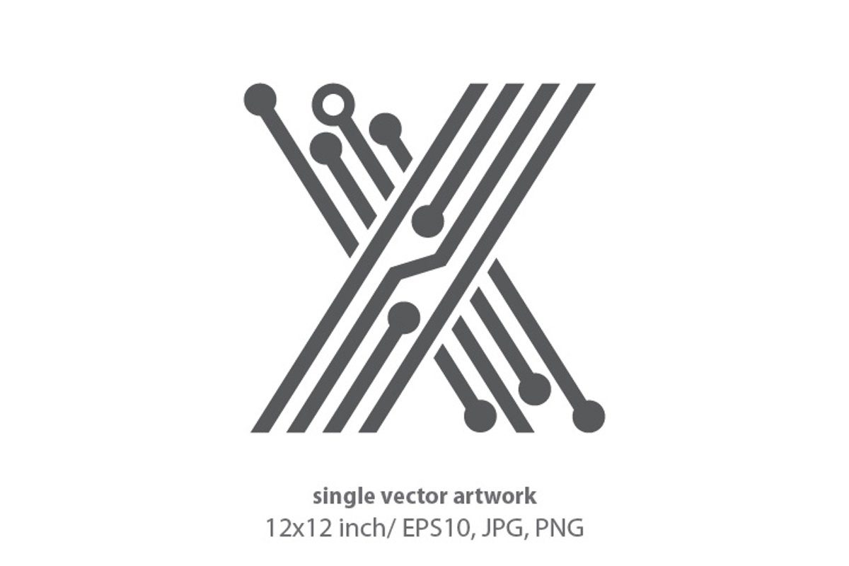 digital letter x- single vector artwork example image 1