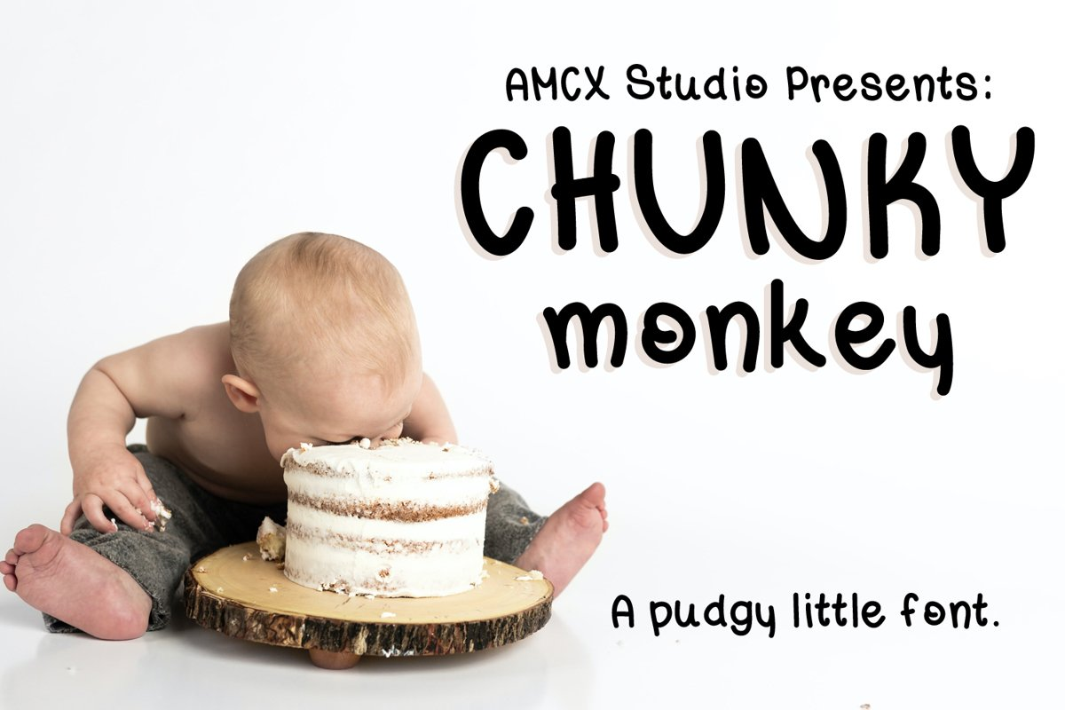 Chunky Monkey - A pudgy little font example image 1