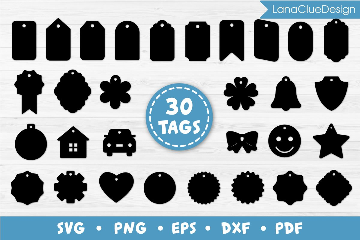 30 Gift Tags Bundle SVG Cut Files, Label and Price Tags example image 1